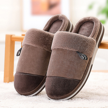 Home slippers for men Memory Foam Wear resistant winter man's slippers Short Plush Mix color Comfortable fur slippers men 1