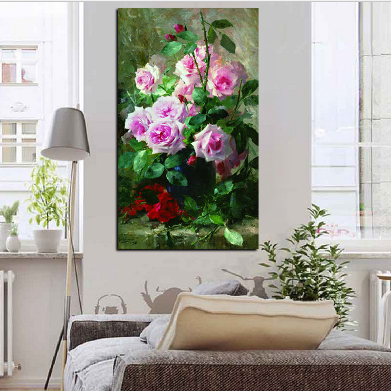 HD Print Modern Watercolor Flowers in Vase Floral Oil Painting on Canvas Poster Wall Picture for Living Room Sofa Cuadros Decor (4)