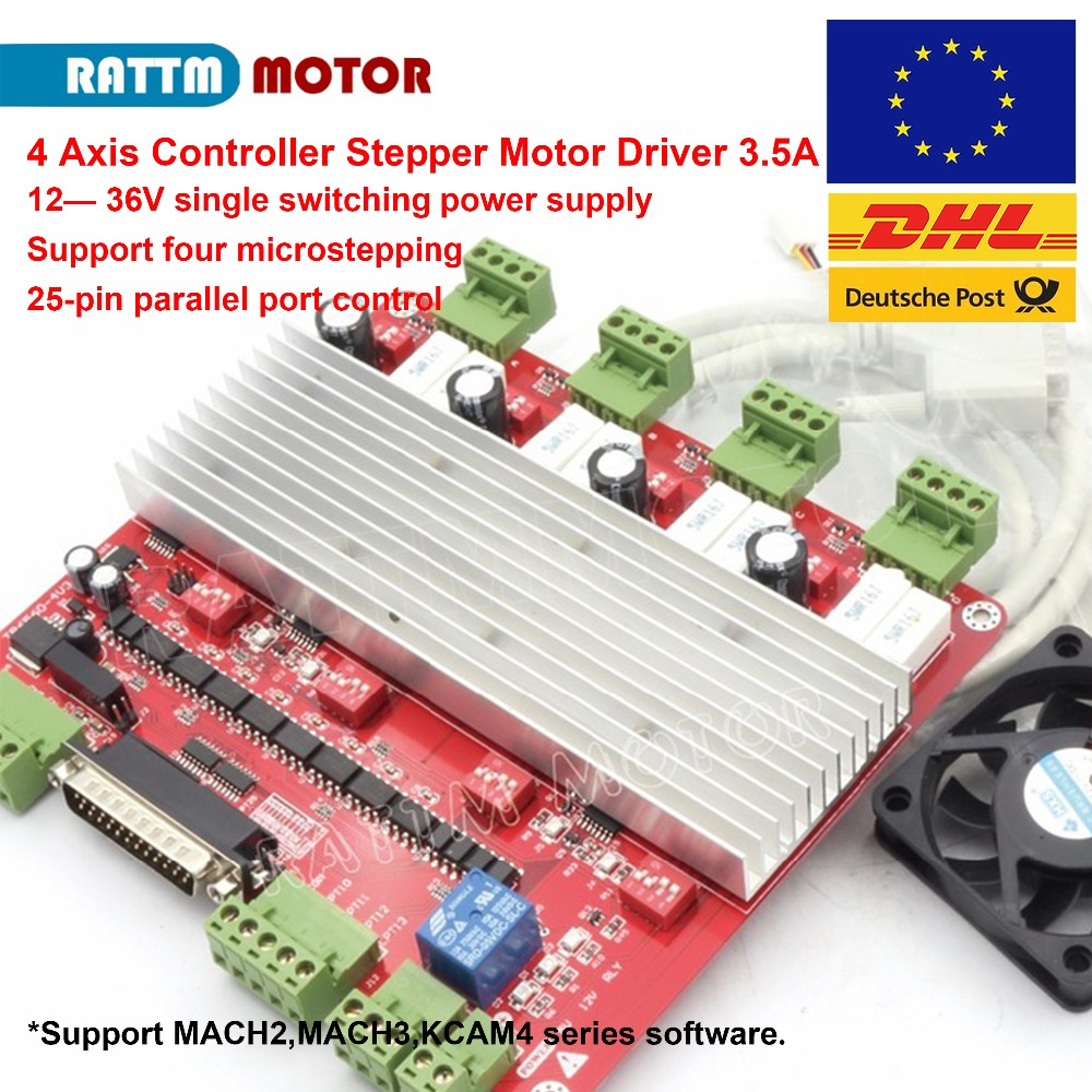 CNC 4 Axis MACH3 TB6560 Stepper Motor Controller Board 3.5A DB25 port +DC12V 0.12A fan for CNC Router