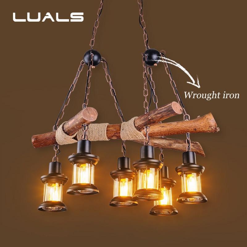 American Style Retro Pendant Light Loft Solid Wood Edison Hanging Lamp Suspension Luminaire Restaurant Cafe Art Deco Lighting цена и фото