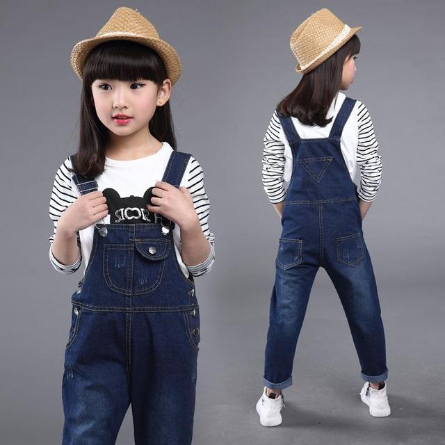 Kids denim overalls 2018 spring girls cowboy suspenders trousers children Korean belt pants for 4 to 13 years baby jeans clothes