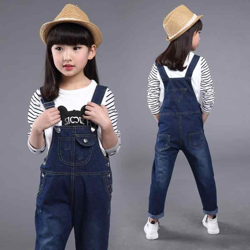 Çocuklar denim tulum 2019 bahar kızlar kovboy jartiyer pantolon çocuk Kore kemer pantolon 4 ila 13 yıl bebek kot elbise