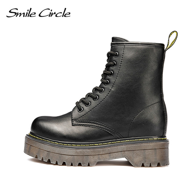 Smile Circle Size36-41 Chunky Motorcycle Boots For Women Autumn 2018 Fashion Round Toe Lace-up Combat Martin Boots Ladies Shoes  1