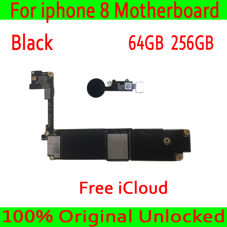 Para iphone 8 64 Motherboard telefone Móvel 256 GB 100% G Desbloqueado Original para iphone 8 4.7 polegada Mainboard com ID de Toque preto