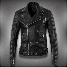 2016 new men's fashion casual Slim motorcycle leather Jackets short paragraph jacket England fall and winter clothes Coats skull