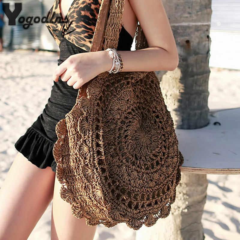 Bohemian Straw สำหรับผู้หญิงวงกลม Beach กระเป๋าถือฤดูร้อนหวายกระเป๋าสะพาย Handmade ถัก Travel Big Totes กระเป๋า 2020 ใหม่