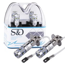 S&D 2Pcs H3 LED Bulbs Car Lights 5 LED Driving Lamp cars Fog Head Bulb Auto Lamp 12V Lights car light source