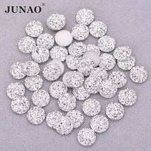 Junao 12 Mm 50Pcs Shiny Silver Ronde Rhinestone Applique Plaksteen Resin Gems Crystal Stone Stickers Non Naaien Strass Voor decoratie(China)