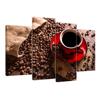 Visual Art Decor Coffee Cup Painting Printed Canvas 4 Panels Coffee Beans Poster Pictures for Bar Decoration/AL10273