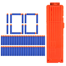 100pcs Soft Bullet Round Head Hollow Foam + 18 Bullets Clips For Nerf N-strike Elite Series