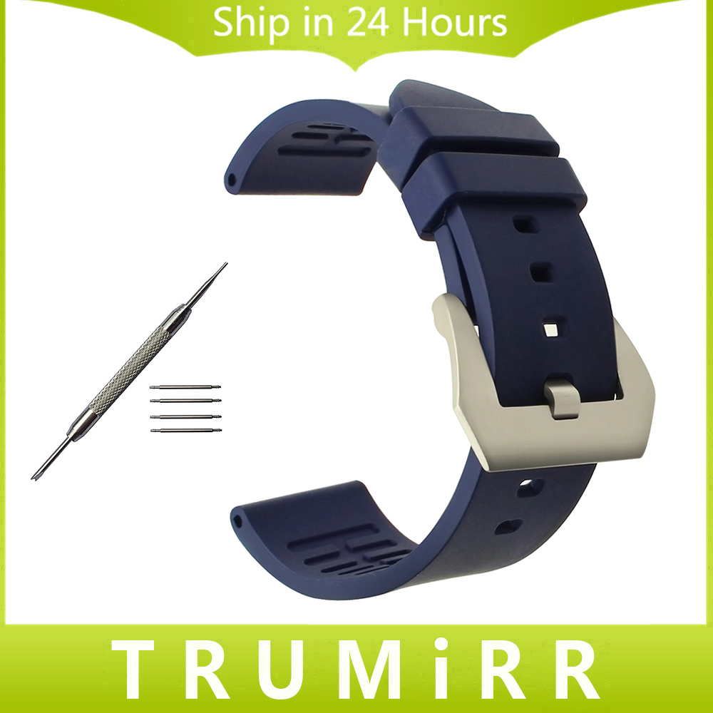 22mm 24mm Fluoro Rubber Watchband for Breitling Omega TAG Heuer Bell Ross Montblanc Watch Band Brushed Steel Buckle Wrist Strap