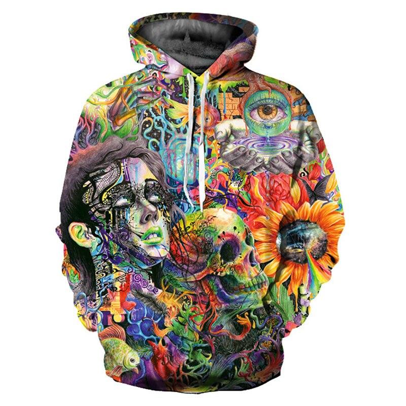 Headbook New Fashion Women/Men Hooded Hoodies Print Paint Flowers Skulls Thin 3d Sweatshirts Casual Hoody Pullovers YXQL313