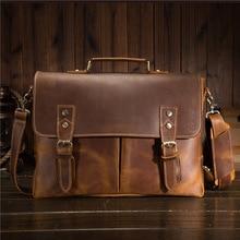 цена на Nesitu Vintage Brown Thick Genuine Crazy Horse Leather Office Men Briefcase 14'' 15.6'' Laptop Portfolio Messenger Bags M9091