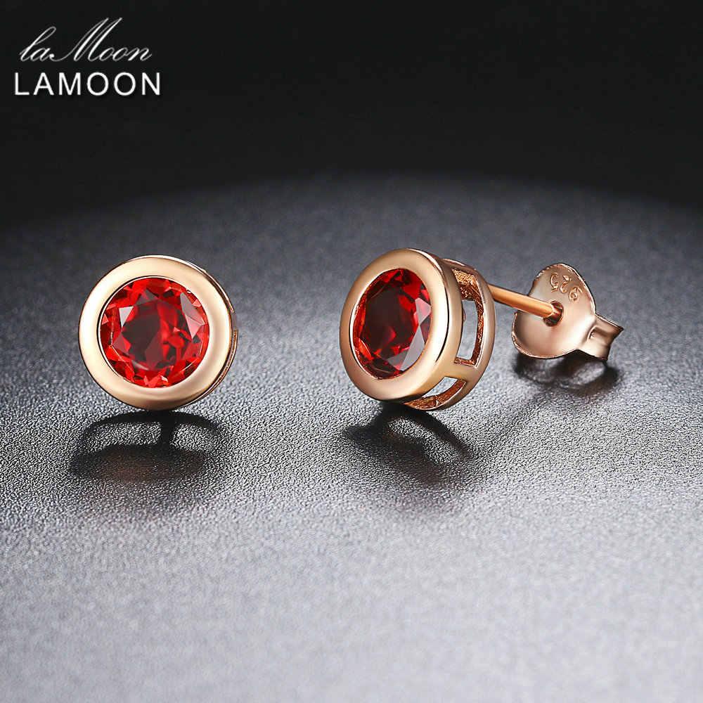 Ламон классический 5 мм 1ct 100% круглый натуральный красный гранат 925 пробы серебряные ювелирные изделия серьги гвоздики S925 LMEI016