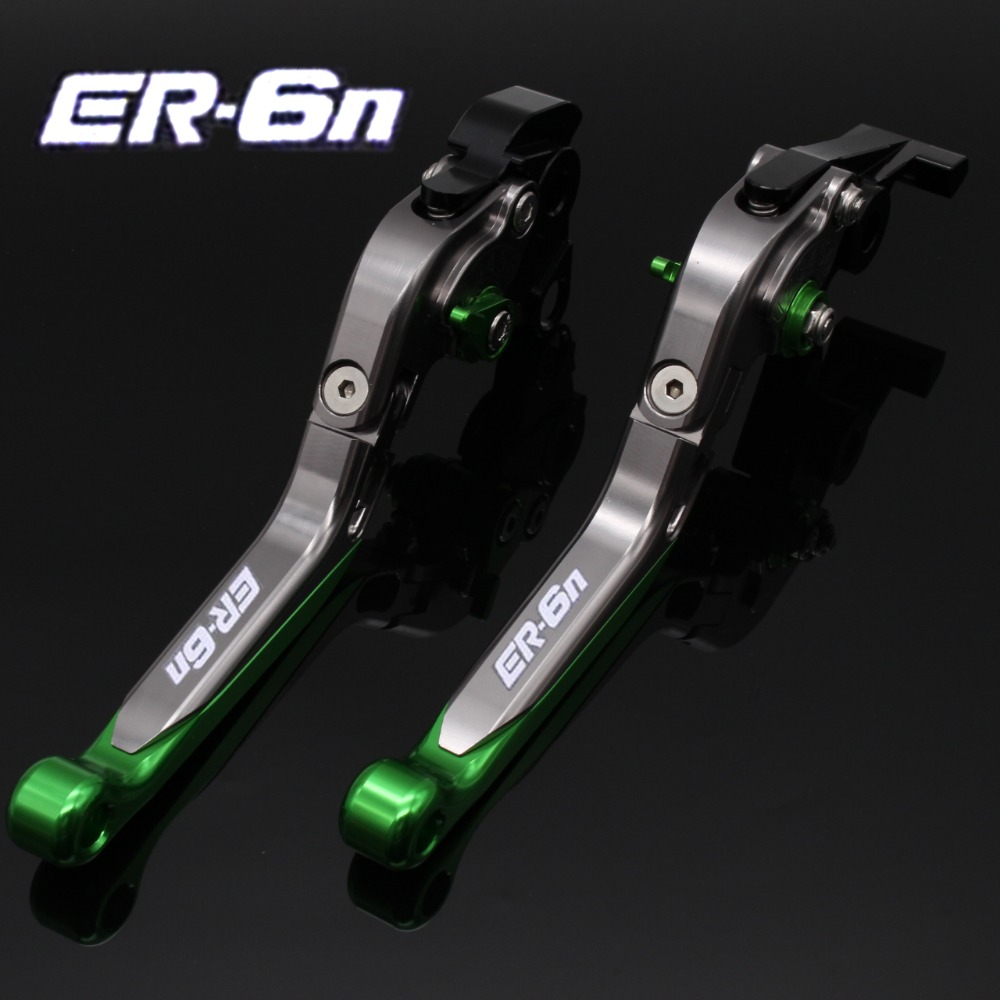 Laser Logo(ER-6N)CNC Motorcycle Brake Clutch Levers For Kawasaki ER-6N ER6N ER 6N 2009 2010 2011 2012 2013 2014 2015 2016 for honda vfr 1200 f 2010 2011 2012 2013 2014 2015 2016 laser logo vfr1200f sliver titanium cnc motorcycle brake clutch levers