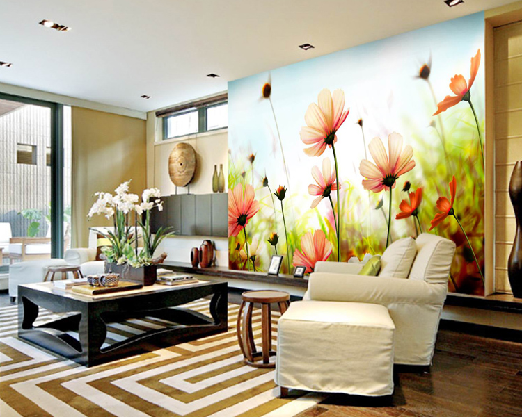 background sofa living yellow tv wall 3d mural wildflower paper daisy customized bedroom zoom stereoscopic