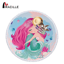 Miracille Cartoon Mermaid Microfiber Towel Large Round Beach for Adults Kids Summer Toalla Tassel Blanket Tapestry 150cm