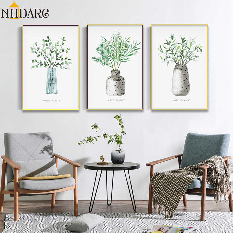 Nordic Modern Green Natural Vase Flowers Wall Art Posters and Prints Canvas Painting Wall Pictures for Living Room Home Decor