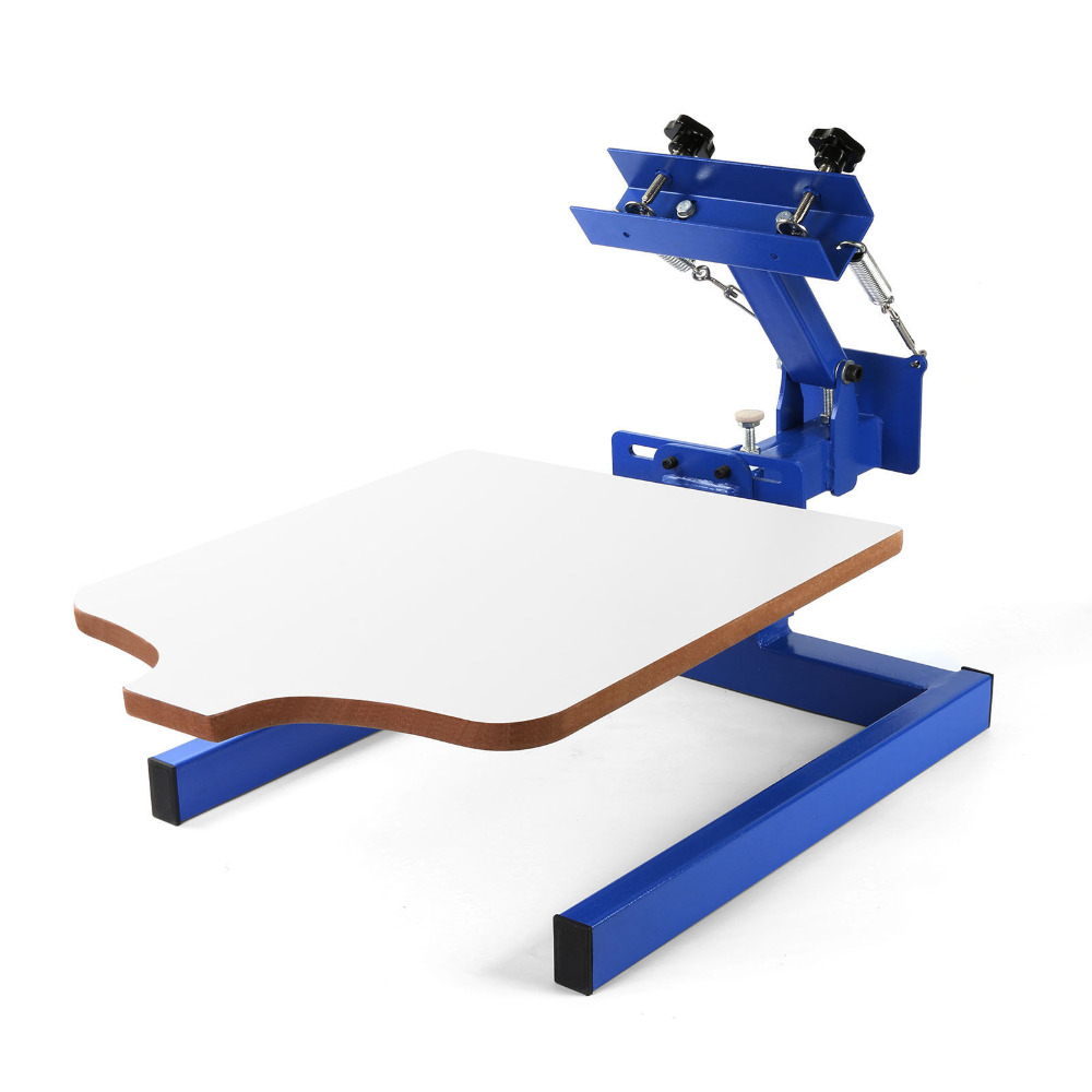 1 Color 1 Station Silk Screen Printing Machine Printer Wood Printing Press DIY happybuy screen printing machine press 1 color 1 station silk screen printing machine adjustable double spring devices 1 color