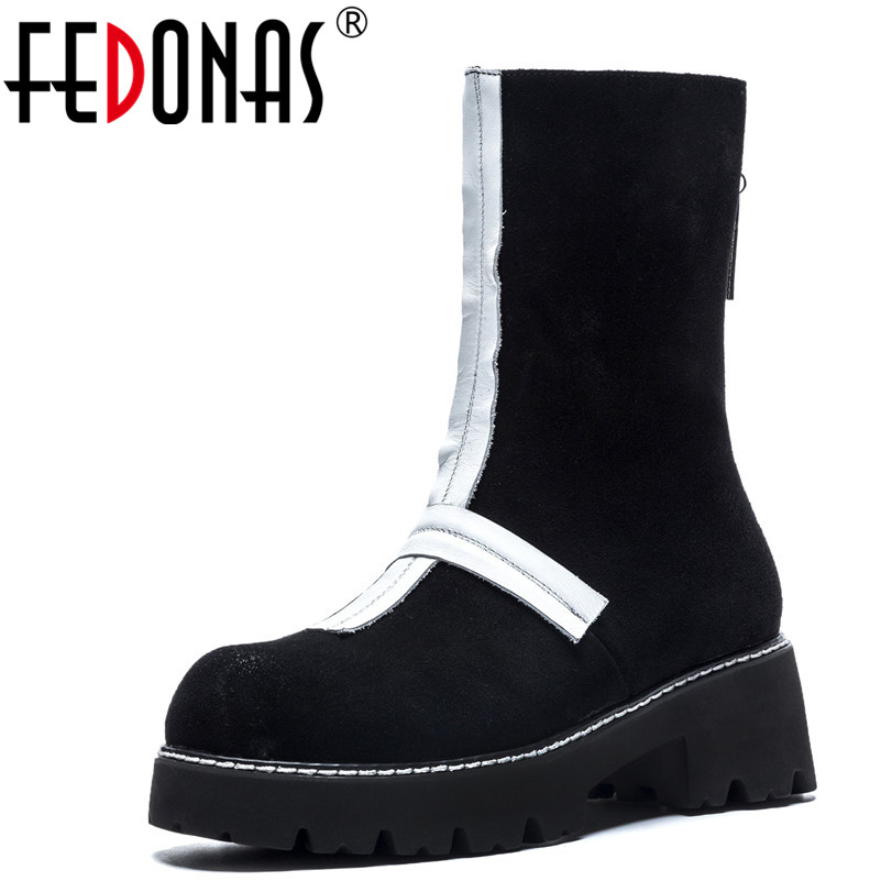 FEDONAS 1Fashion Women Mid-Calf Boots Round Toe Cow Suede High Heels Shoes Woman Zipper Autumn Winter Warm Casual Snow Boots 2018 superstar cow suede platform round toe high heels snow boots keep warm winter shoes wedge zipper women mid calf boots l95