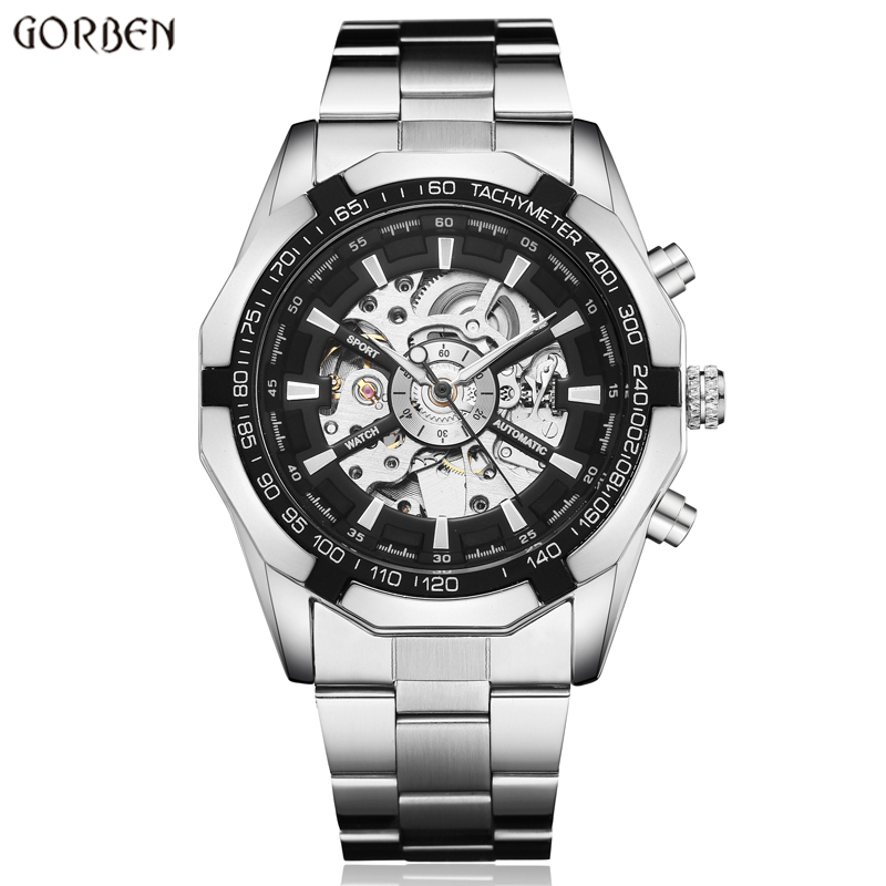 Hot Sale Luxury Luminous Automatic Mechanical Skeleton Dial Stainless Steel Band Wrist Watch Men Women Best Christmas Gift M106 2017 hot sale luxury luminous automatic mechanical skeleton dial stainless steel band wrist watch men women christmas gift
