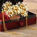 2 Estilos Chinês Tradicional Do Casamento Nupcial Jóias Tiara Pente Cocar Frontlet Coroa Acessórios de Cabelo Banhado A Ouro Do Vintage