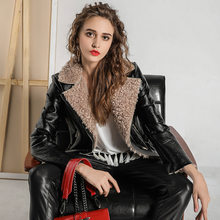 New Lamb Cashmere Motorcycle PU Leather Jackets For Women European Winter Slim Short Plus Velvet Turn Collar Zipper Female Veste(China)