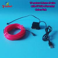 2016 NEW 15M 3 2mm Pink EL Wire Tube Rope USB Flexible Neon Light Party EL