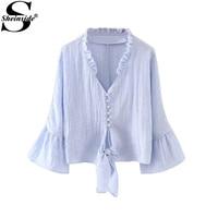 Sheinside Ruffle Tunic Blouses Women Blue Bell Sleeve Shirt Frill Trim Cute Knot Front Tops New