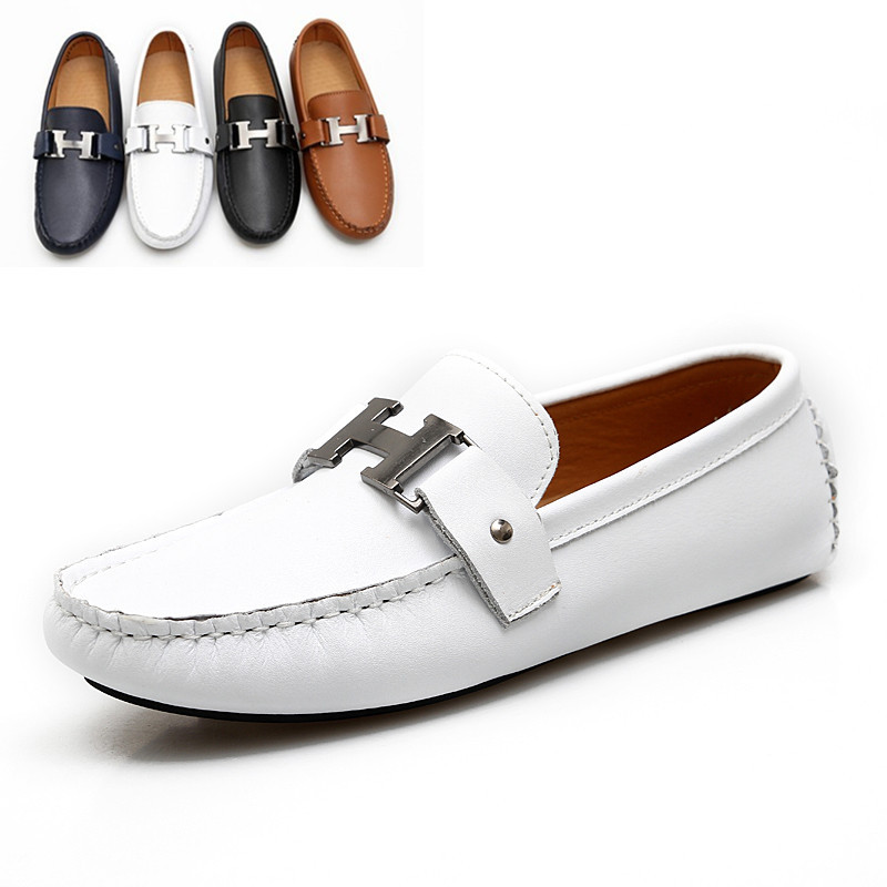 Free Shipping Quality 2015 Fashion Designer Men Leather White Loafer Shoes Soft And Comfortable ...