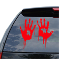 2X Red Bloody Hand Print Vinyl Car Window Laptop Decal Zombie Horror Creepy Dead Funny Durable Sticker