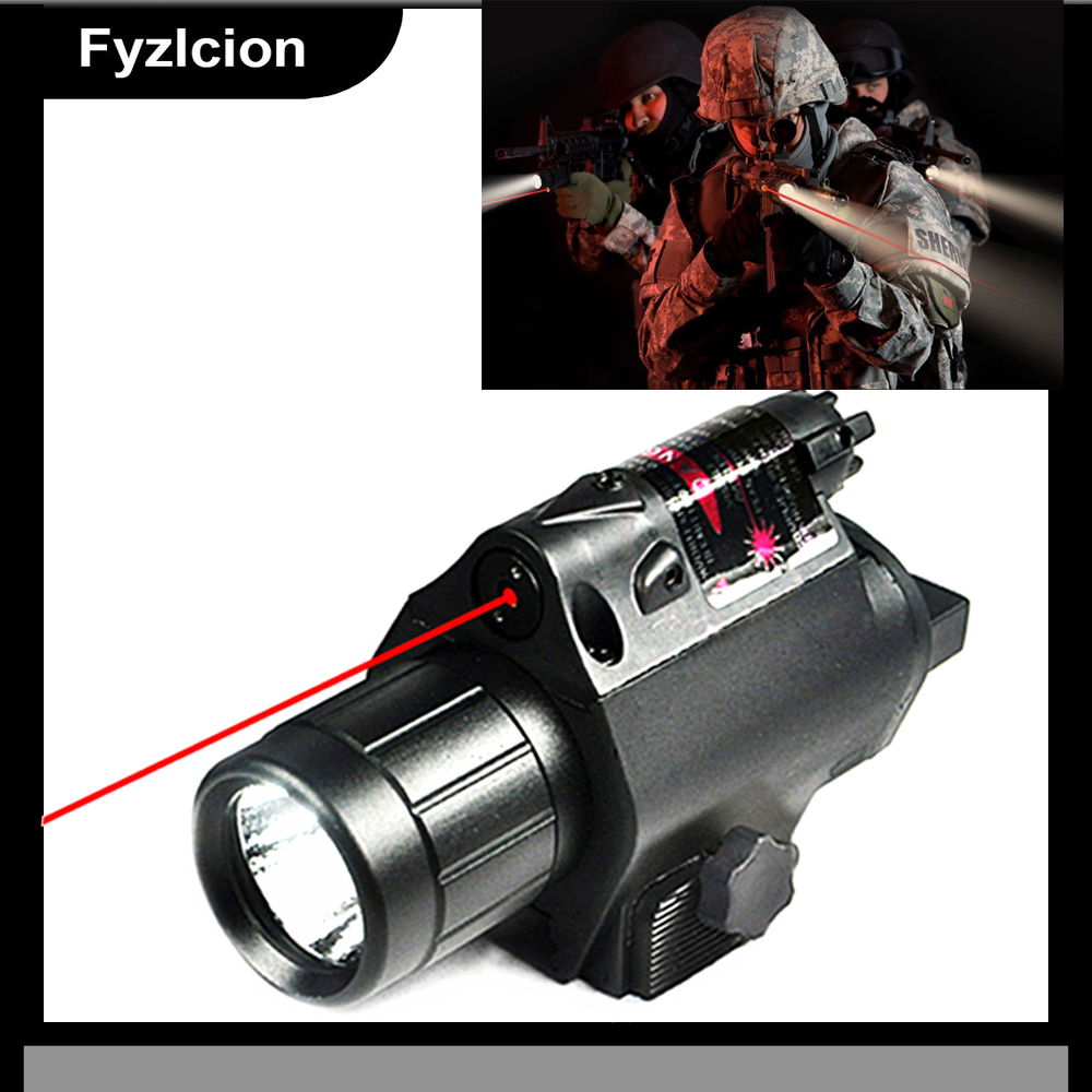 Tactical LED Flashlight and 650nm red laser sight Combo with Remote Handle and 20mm Mount For GL 17 19 and Hunting Rifles