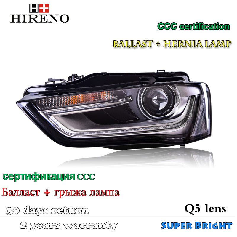 Hireno Head lamp for 2013-16 Audi A4 B9 Headlights LED Headlight Assembly DRL Angel Lens Double Beam HID Xenon 2pcs 2pcs purple blue red green led demon eyes for bixenon projector lens hella5 q5 2 5inch and 3 0inch headlight angel devil demon