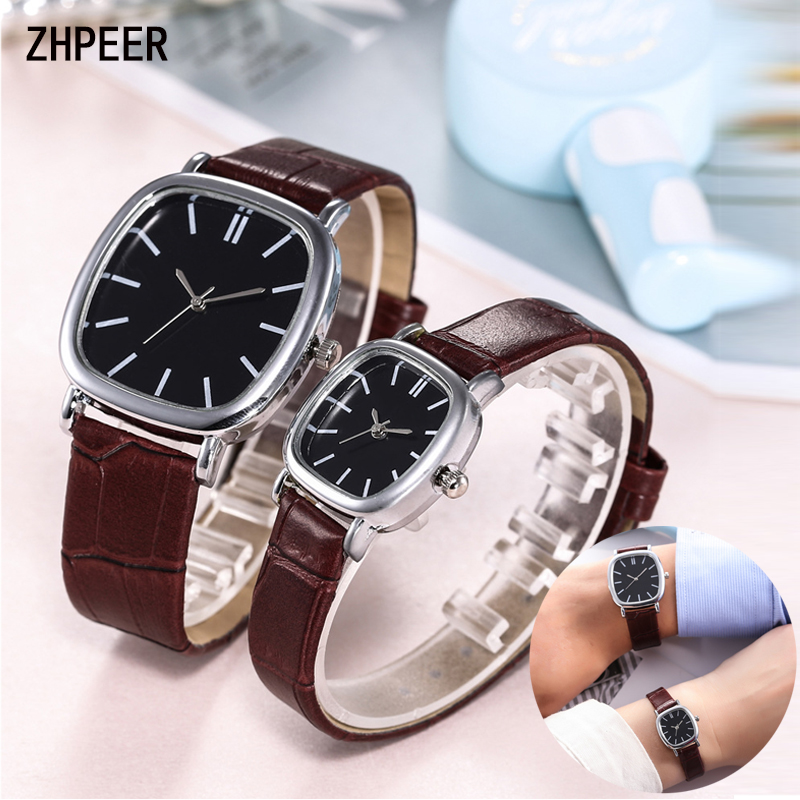 Couple Watch Minimalist Silver Square Shell Men Women Wristwatch Leather Strap Quartz Watch Fashion & Casual Reloj Mujer Gifts