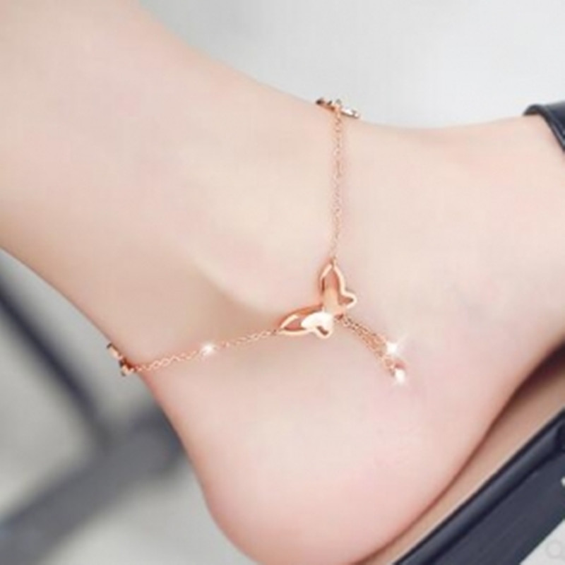 New Butterfly Pendant Anklets Foot Chain Summer Beach Leg Bracelet For Women Girl Charms Barefoot Sandals Jewelry 2