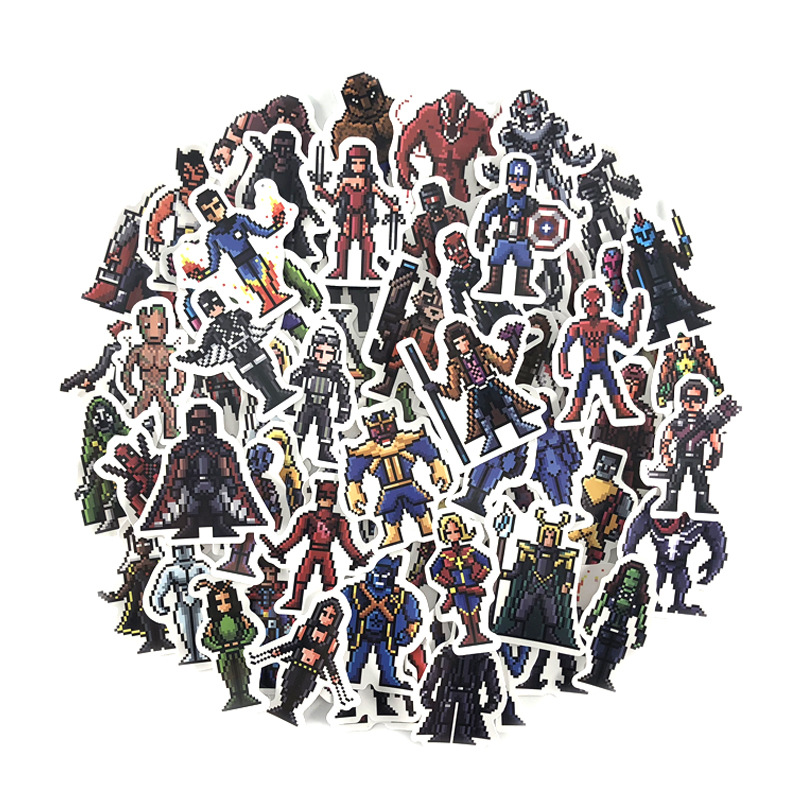 Stickers 64pcs Pixel Super Hero Movie Avengers Anime Character Mix Laptop DIY For Kids Toys Cars Laptop Bicycle Waterproof
