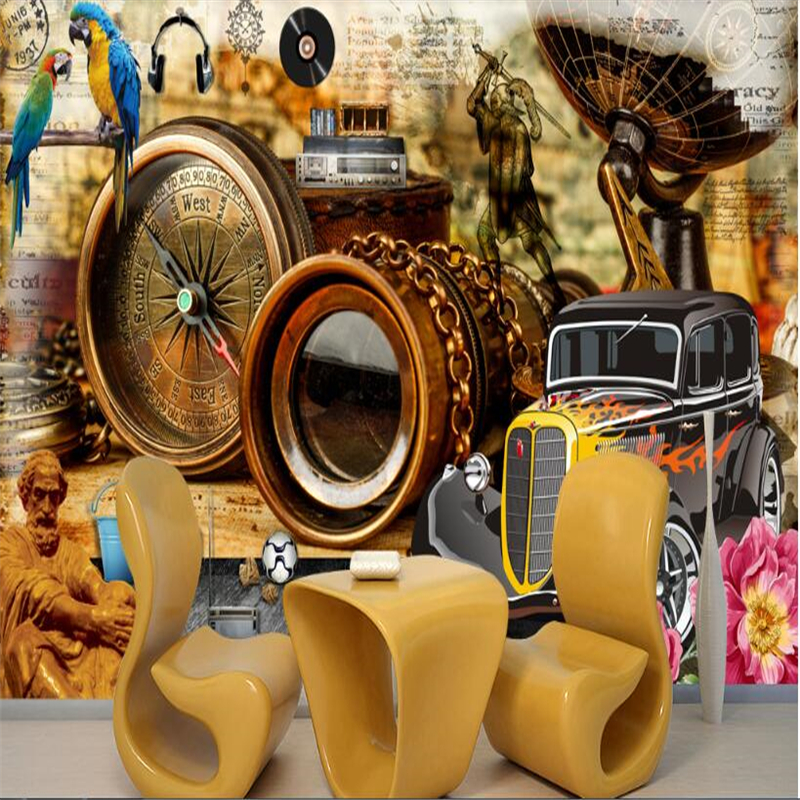 beibehang papel de parede Custom Wallpaper 3d Art European Vintage Compass Binoculars Classic Car Mural wall papers home decor