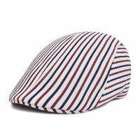Unisex Outdoor Travel Camping Stripes Cotton Cap Male Female Summer Spring Outdoor Sun Beret Hat Men