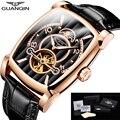 Мужские наручные часы GUANQIN  Роскошные автоматические часы с сапфировым скелетом  прямоугольные кожаные золотые мужские часы