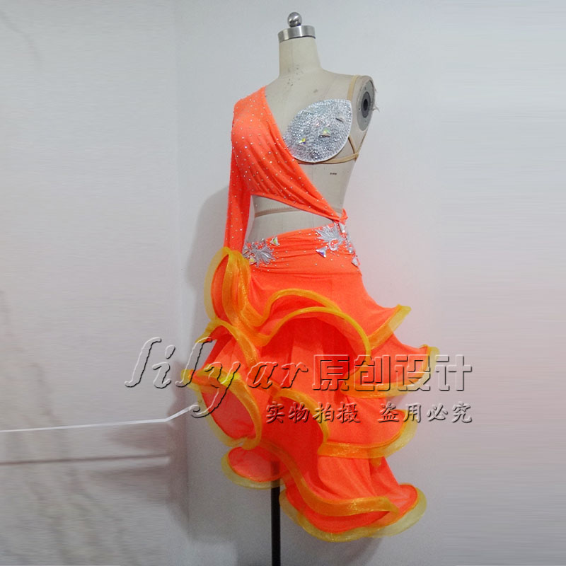 New women's Latin dance costume suit <font><b>dress</b></font> <font><b>orange</b></font> <font><b>sexy</b></font> belly <font><b>dress</b></font> long image