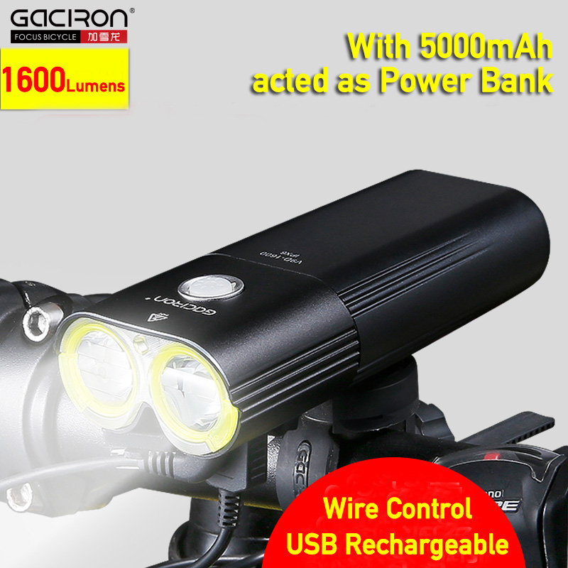Bike Front Light Power Bank USB Rechargeable Bicycle Head Double Lamp High Light