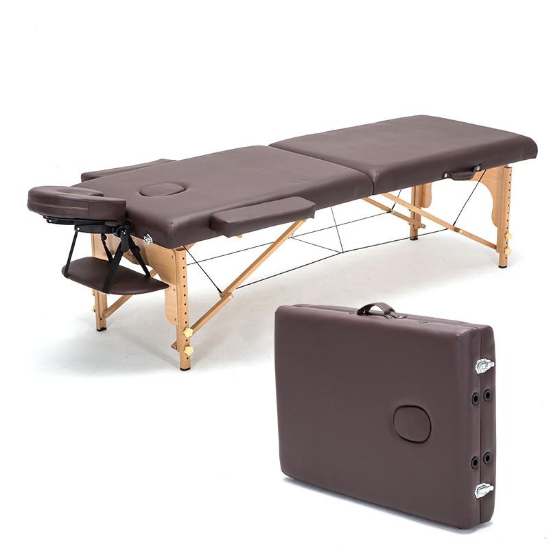 Профессиональные портативные массажные столы для спа, складные с сумкой для переноски, мебель для салона, деревянная складная кровать, косметический массажный стол