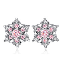 100% 925 sterling silver shiny crystal snowflake ladies`stud earrings women jewelry female gift wholesale drop shipping cheap