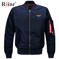 Riinr Quality Bomber Solid Casual Jacket Men Spring Autumn Outerwear Mandarin Sportswear Mens Jackets for Male Coats M 6XL
