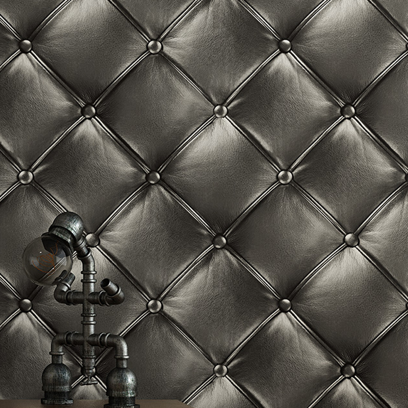 Luxury Deep Embossed Faux Leather 3D Wallpaper For Wall Living room Black Wall Paper Roll Background Wallcoverings KTV store
