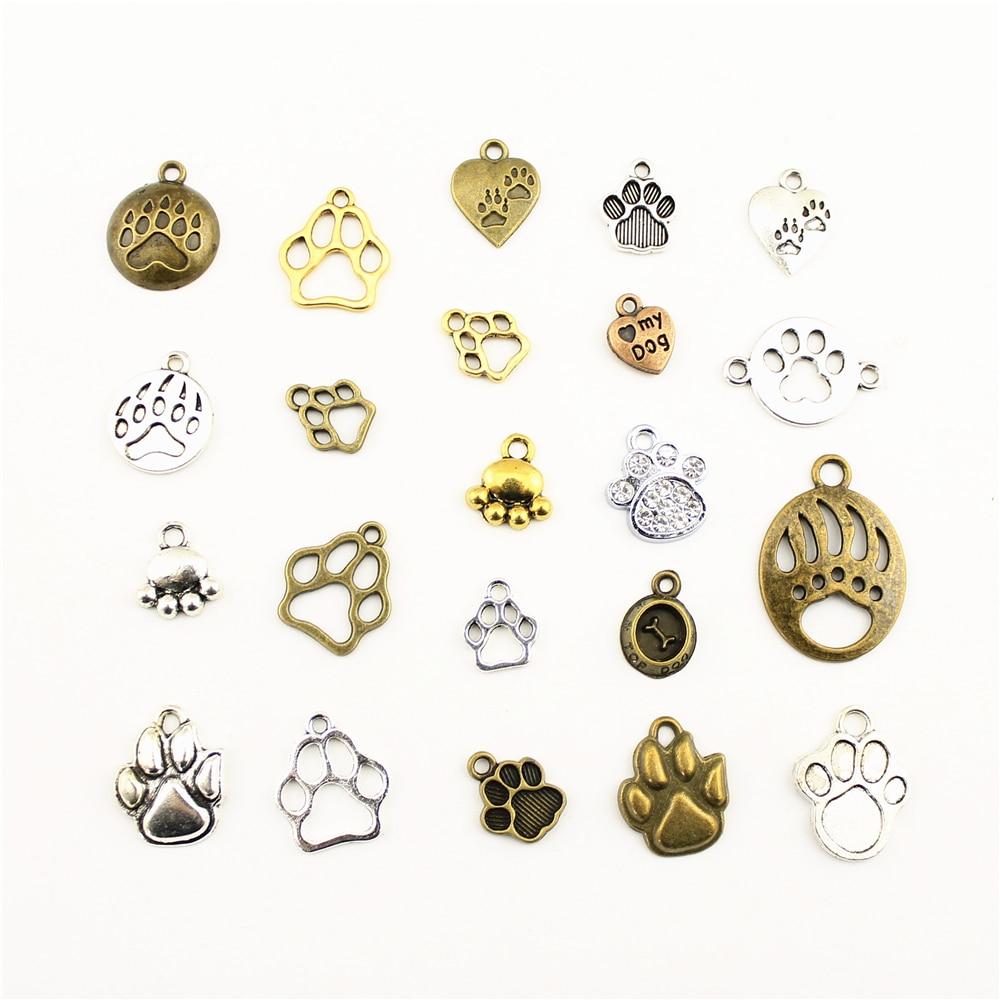 10 pçs encantos para fazer jóias pegadas animais garra do cão urso garras acessórios peças criativo artesanal presentes de aniversário