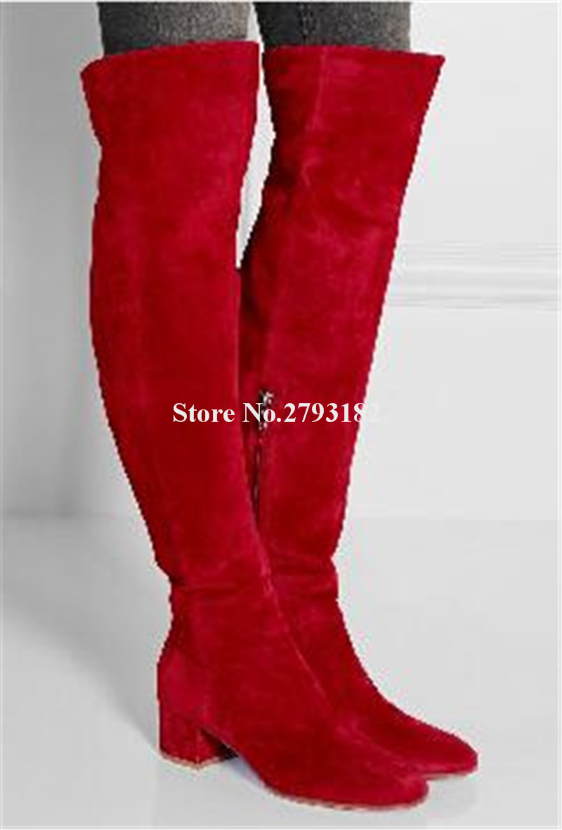 Women Winter Fashion Comfortable Round Toe Suede Leather Low Heel Over Knee Boots Red Grey Black Long Flat BootsWomen Winter Fashion Comfortable Round Toe Suede Leather Low Heel Over Knee Boots Red Grey Black Long Flat Boots