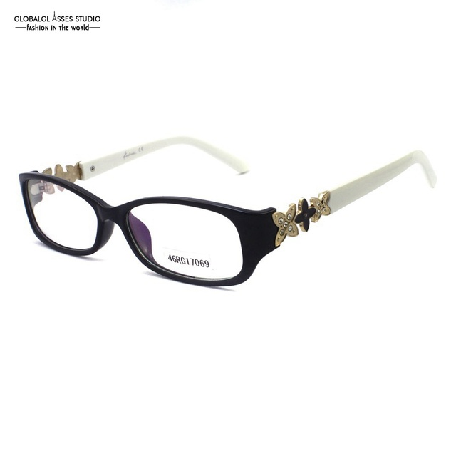 Luxury Square Lens Acetate Glasses Frame Women Lady Black Color White Temple Diamond Clover Optical Eyeglasses 46RG17069
