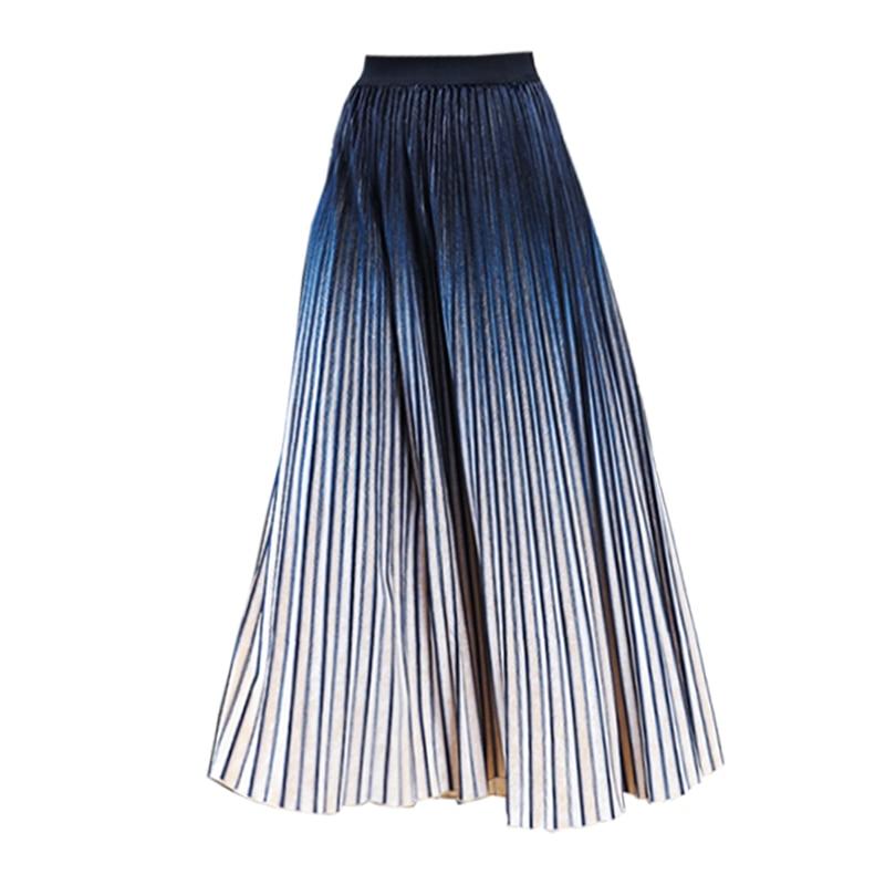 Décontracté Mode Taille Faldas Mi Gorgious Jupe Élastique Velours Printemps Plissée Longue Haute Gradient 2851ly Femmes Hw7Oq4nX