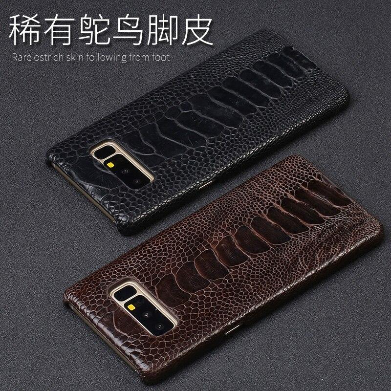 Étui pour samsung A70 en peau d'autruche naturelle de luxe avec étui arrière en cuir véritable pour Note10 9 8 S10 S9 A9 A8 J7 - 4
